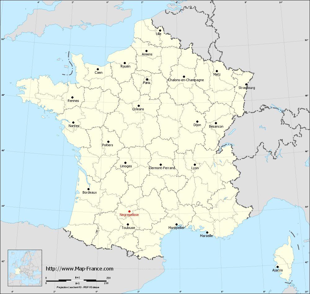 Carte administrative of Nègrepelisse