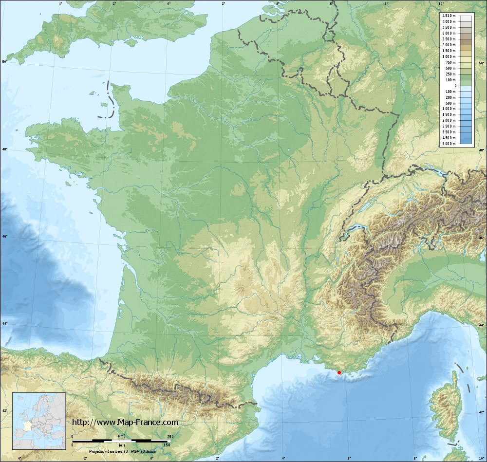 Base relief map of Sanary-sur-Mer