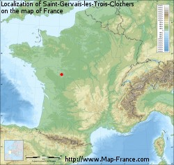 Saint-Gervais-les-Trois-Clochers on the map of France