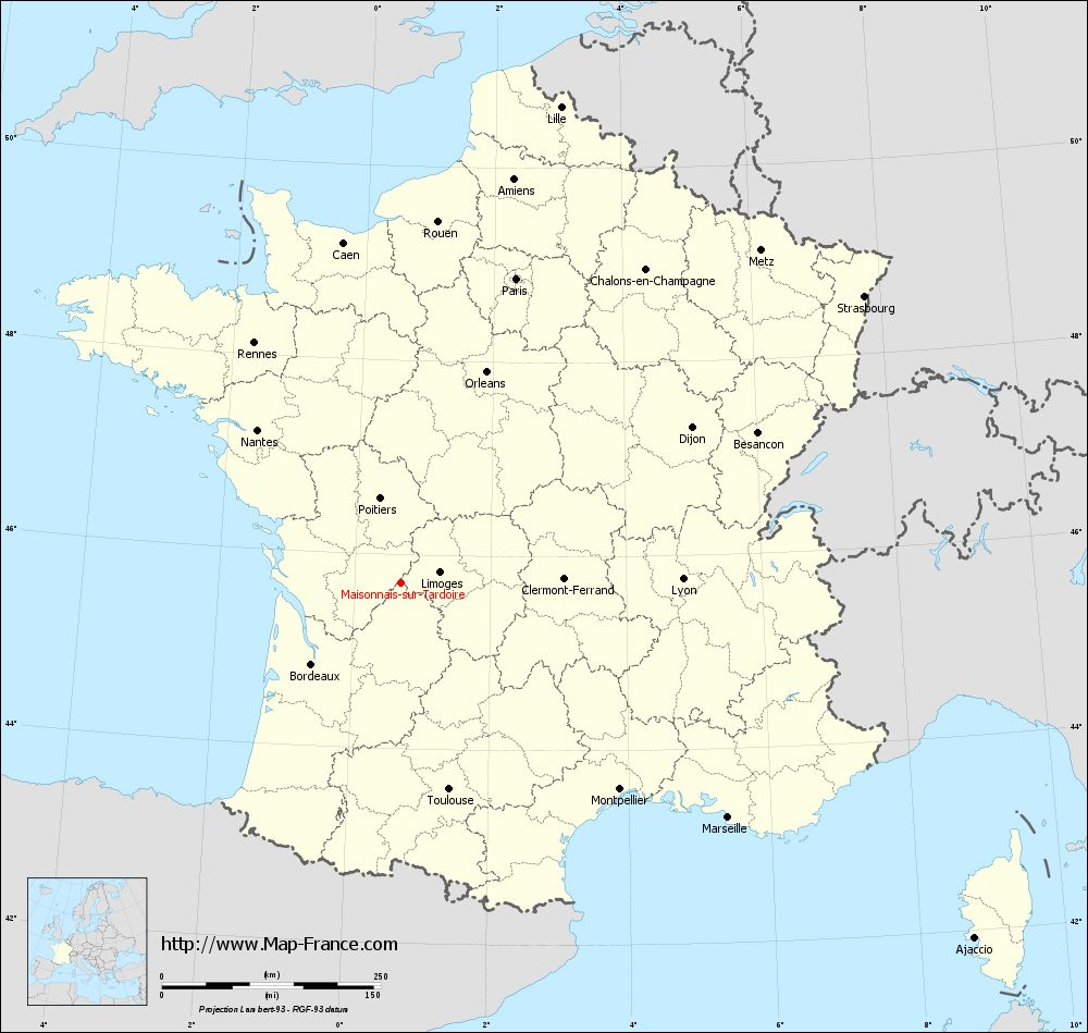 Carte administrative of Maisonnais-sur-Tardoire