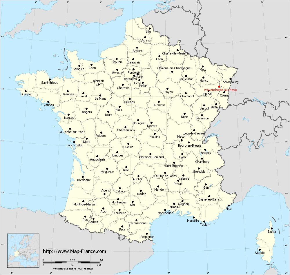 Administrative map of Provenchères-sur-Fave