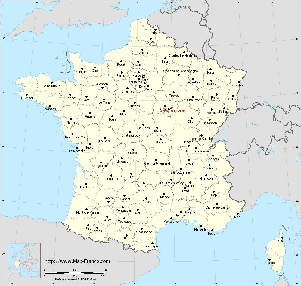 Administrative map of Annay-sur-Serein