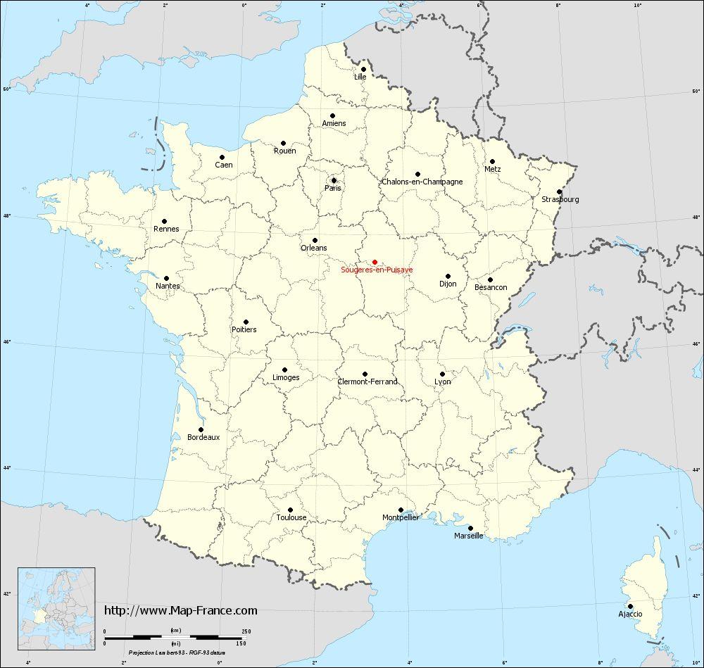 Carte administrative of Sougères-en-Puisaye