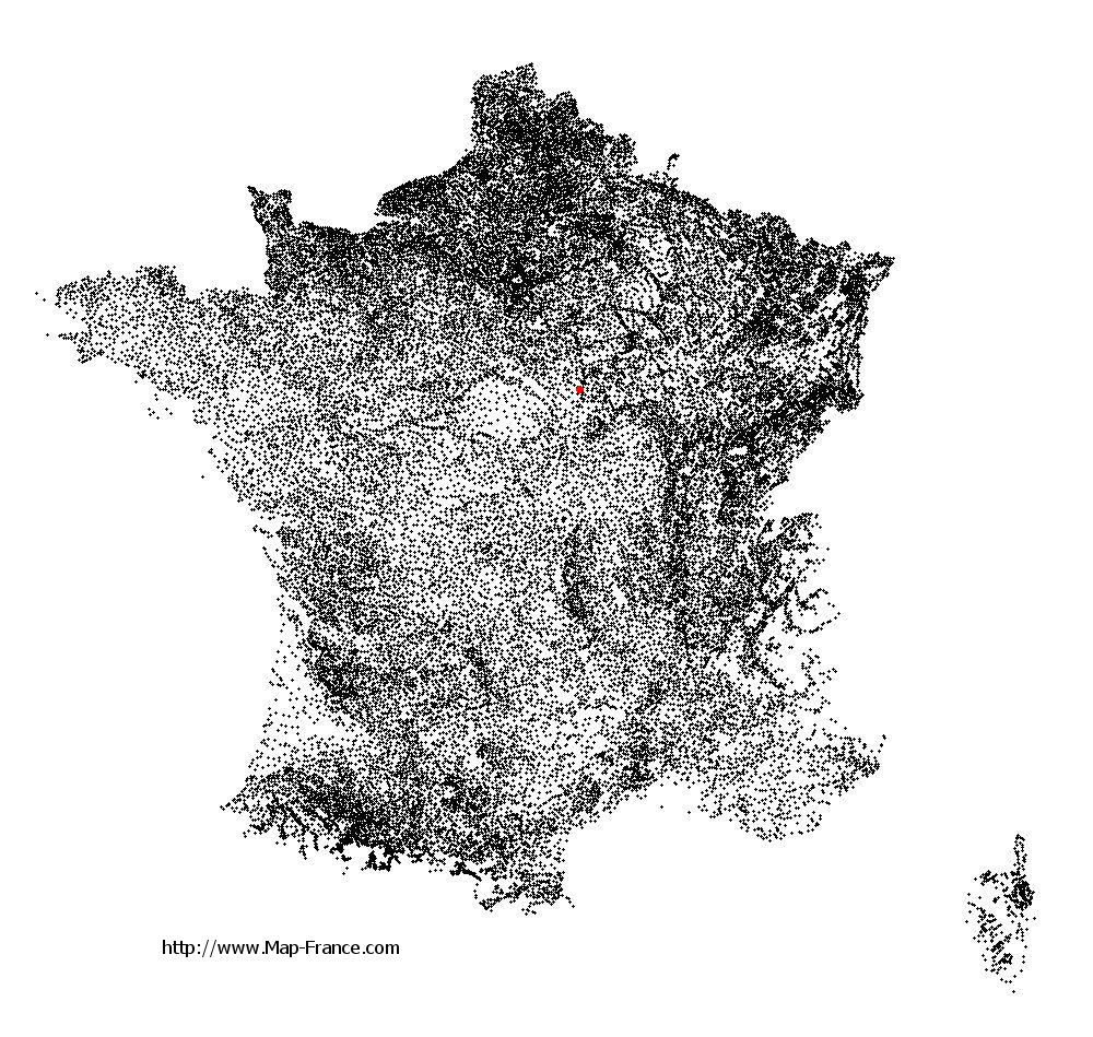 Toucy on the municipalities map of France