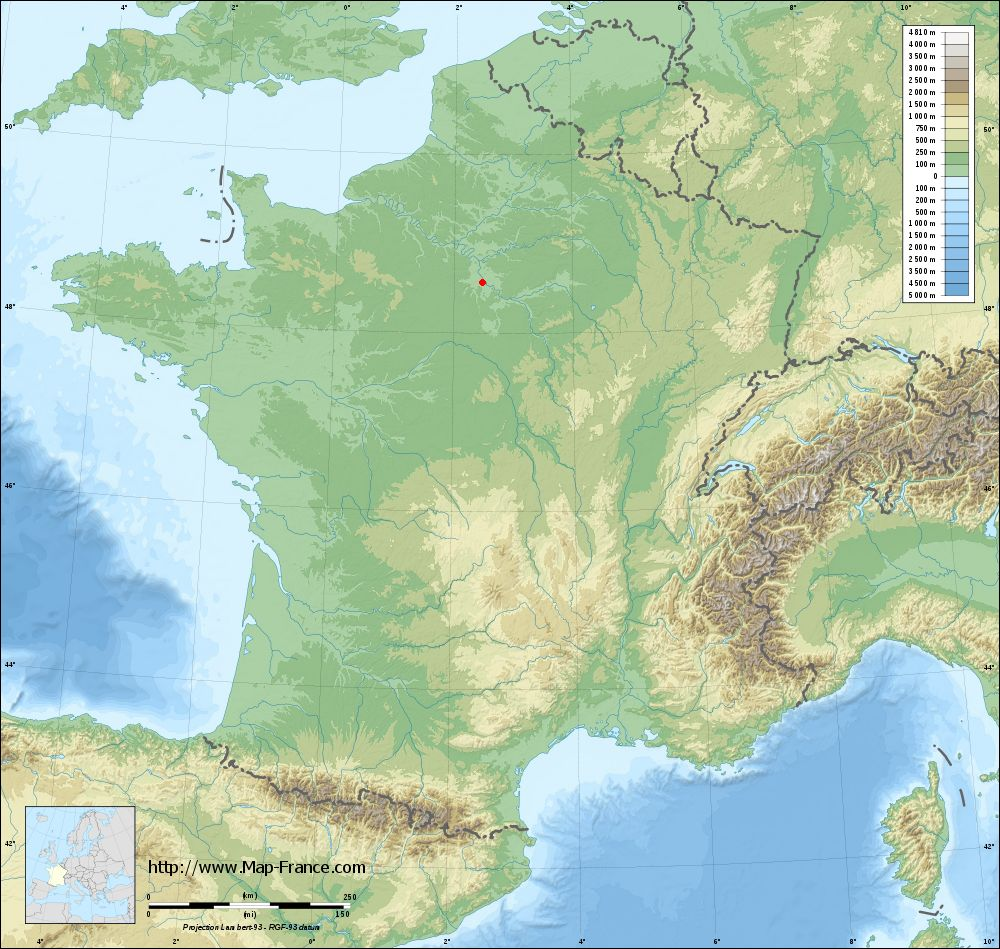 Base relief map of Le Coudray-Montceaux
