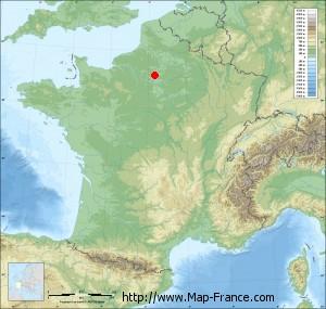 Small france map relief of Asnières-sur-Oise