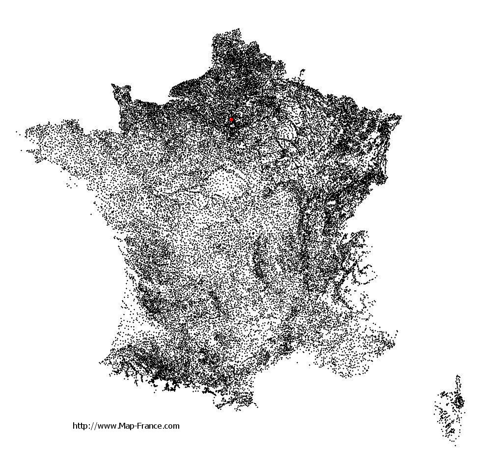 Margency on the municipalities map of France